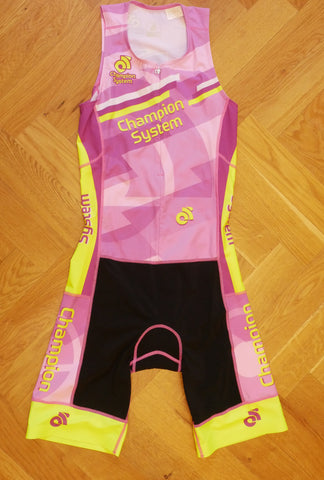 Apex Women Tri Suit     (pink-yellow/ front zipper)
