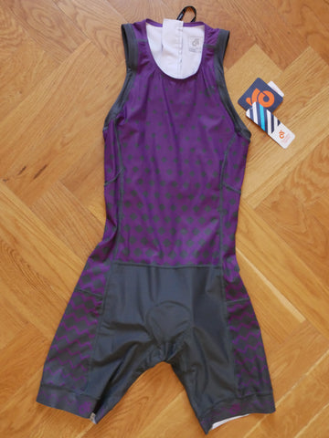 Performance Women Tri Suit   (grey-purple/ back zipper)