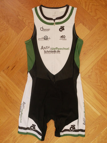 Perf. Men Tri Suit (green-white/ front zipper)