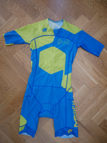 Apex Aero Men Tri Suit (green-blue/ front zipper) + name