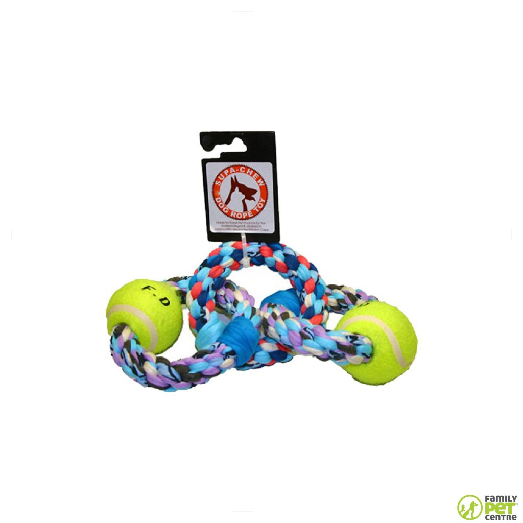 Supa Chew 3 Rings Cotton Rope Dog Toy With 2 Balls