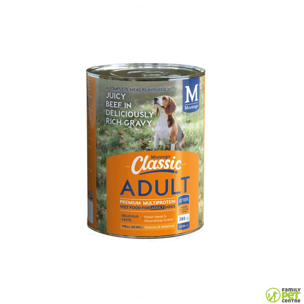 Montego Classic Canned Adult Dog Food - Juicy Beef in Deliciously Rich Gravy
