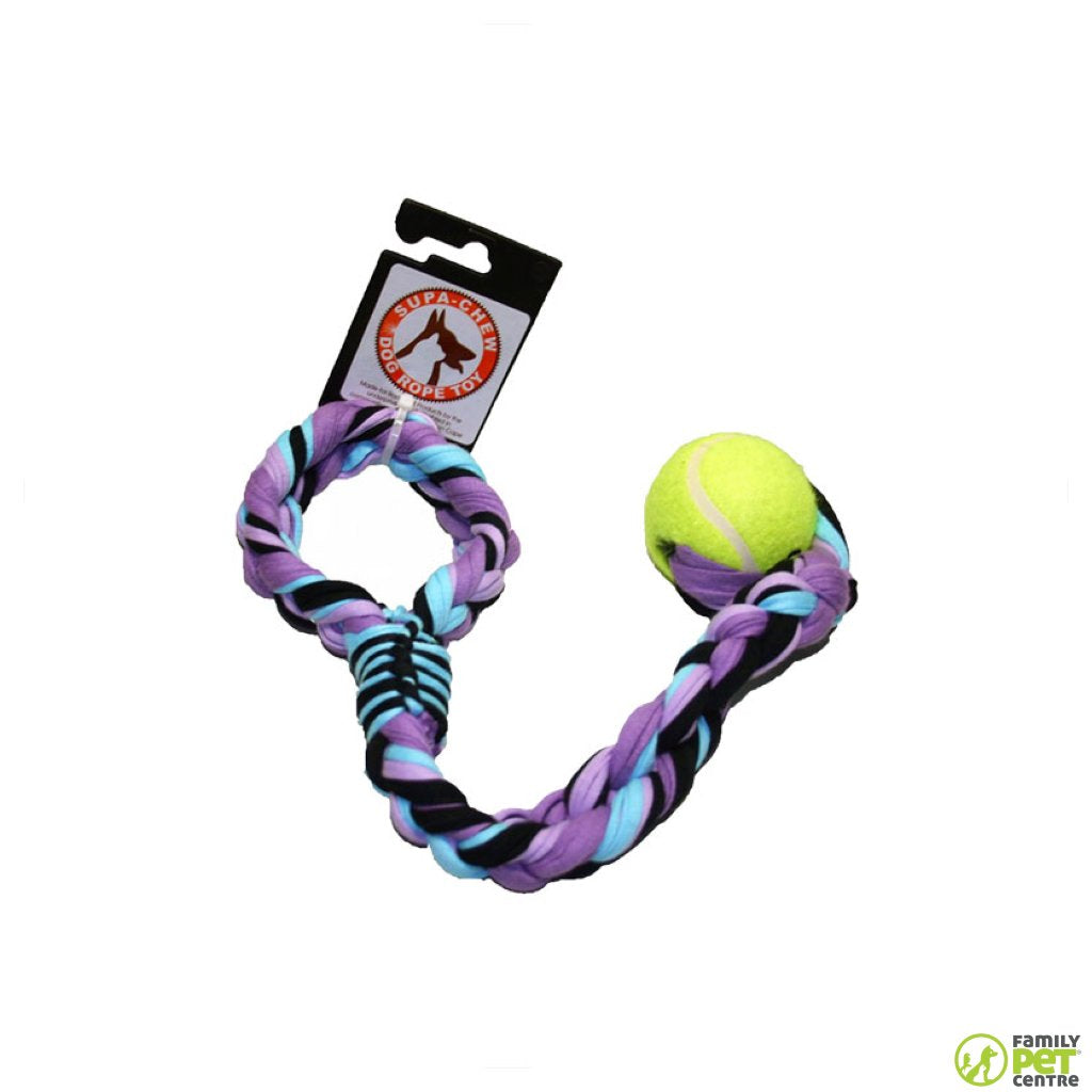 Supa Chew Cotton Sling Rope Dog Toy With 1 Ball