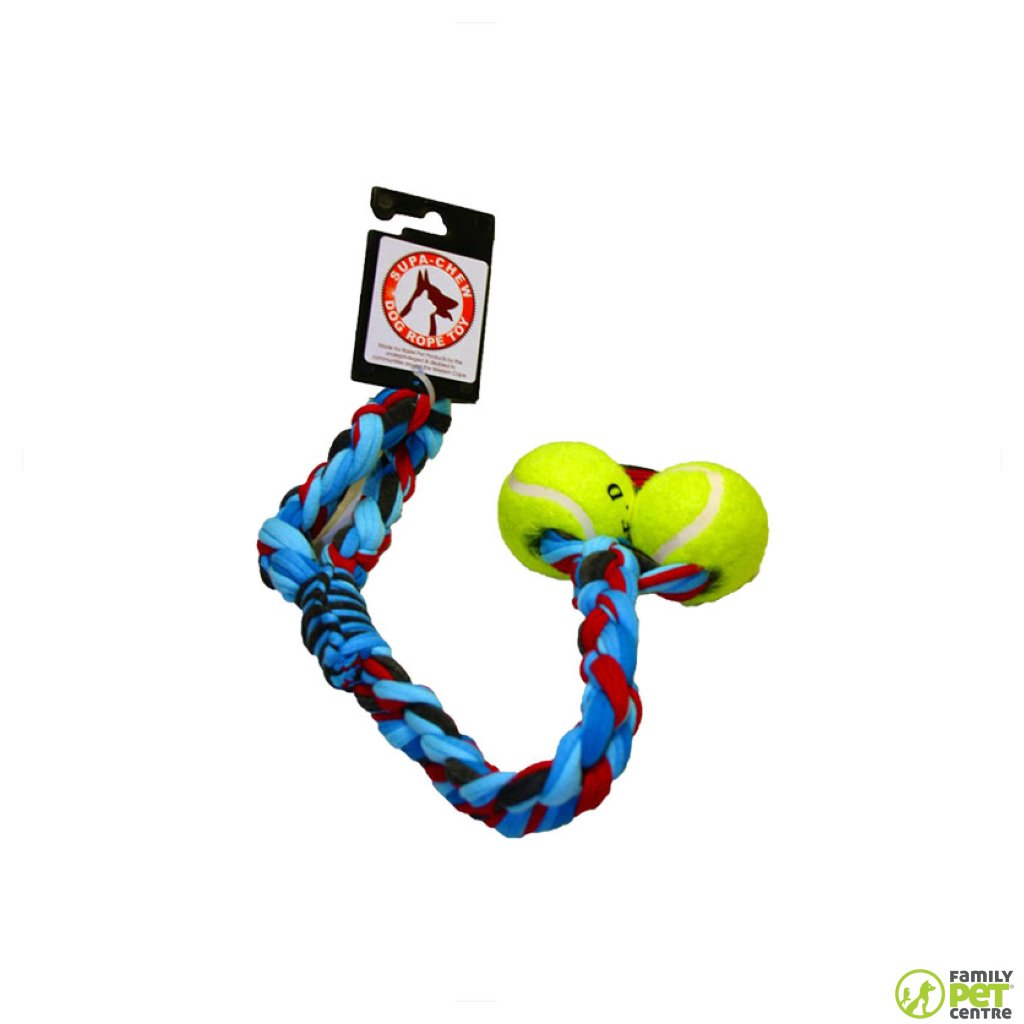 Supa Chew Cotton Sling Rope Dog Toy With 2 Balls