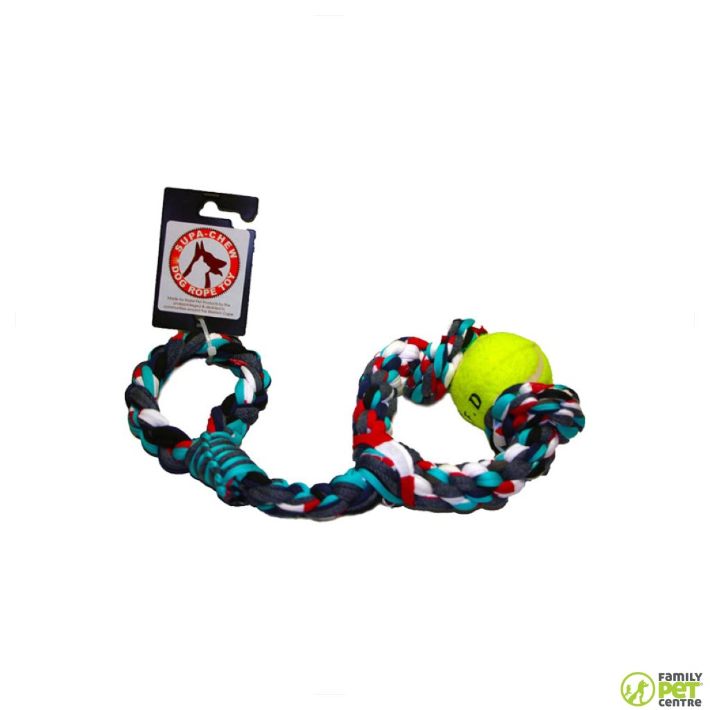 Supa Chew Cotton Sling Rope Dog Toy With 2 Knots & 1 Ball