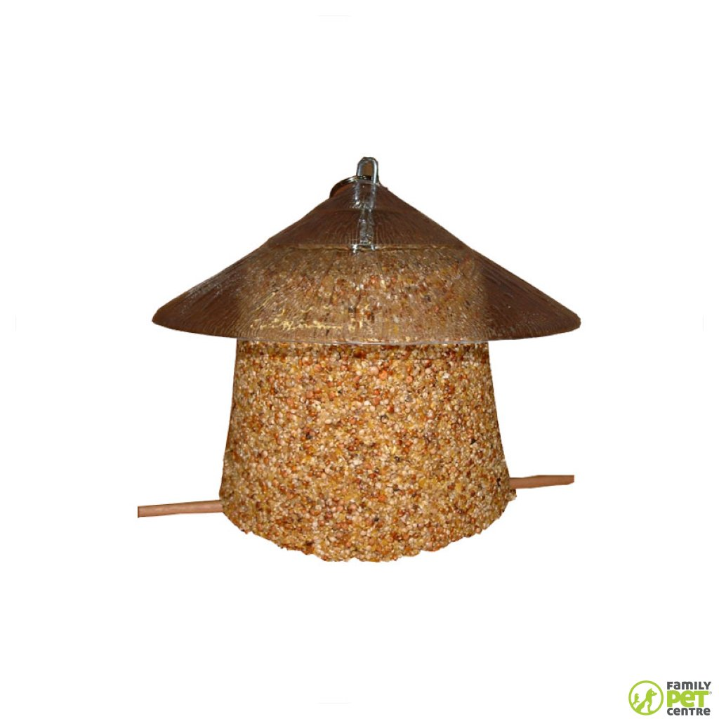Birrdeez Wild Bird Seed Bell With Thatch Roof