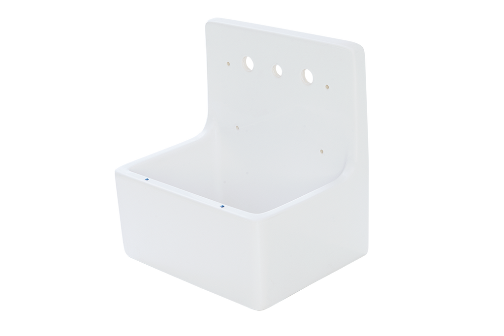 Scullery Wall Hung Fireclay Sink 510 x 390 x 490mm With Tap Holes