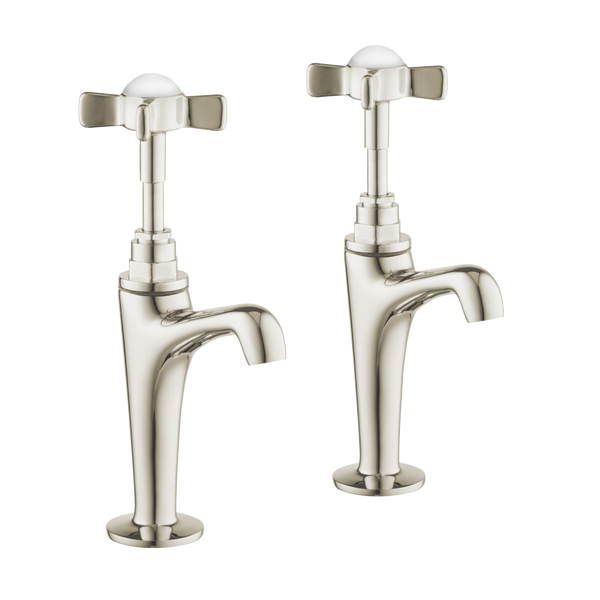 High Neck Pillar Taps - Metal Lever