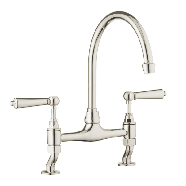 Traditional Kitchen Bridge Mixer Tap - Brushed Nickel/ Porcelain Lever - 30% discount applied while buying together with the SINK.