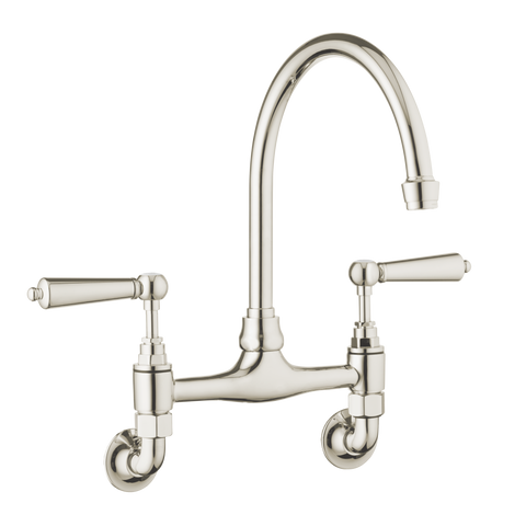 Traditional Kitchen Mixer Wall Mounted - Metal Levers