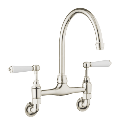 Traditional Kitchen Mixer Wall Mounted - Porcelain Levers