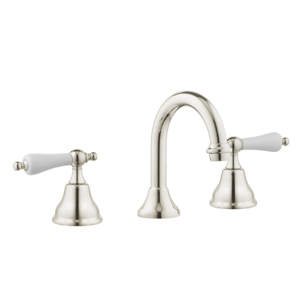 Colonial Kitchen Tap - Goose Spout - Porcelain Handles