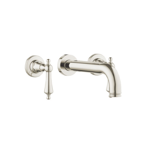 Wall Three Hole Lever Taps With Bath Spout - Porcelain Levers