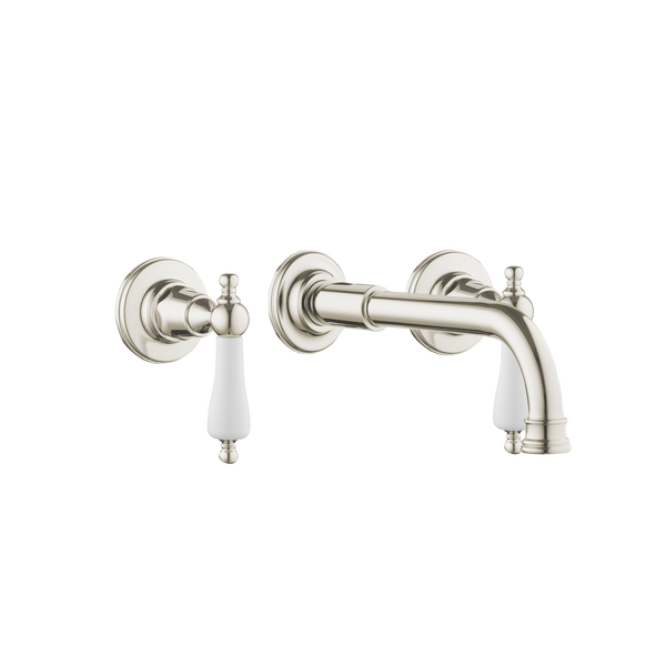 Art Deco Basin Three Hole Set - Cross Handles