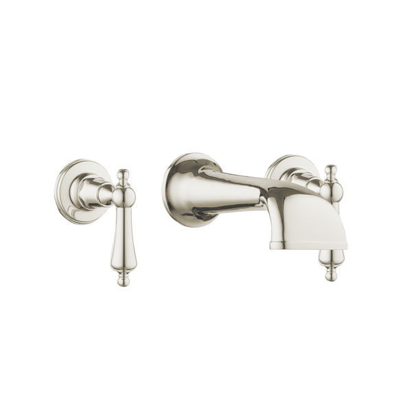 Heritage Basin Three Hole Set with Concealed Spout - Metal Levers