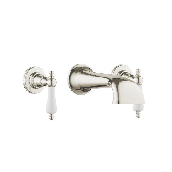 Heritage Basin Three Hole Set with Concealed Spout - Cross Handles