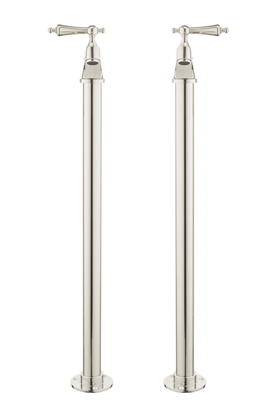 Vintage Bath Pillar Taps On Pipe Stands - Metal Lever