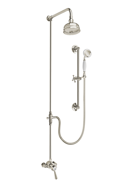 Heritage Shower System Arm Rose Diverter & Flexible Kit - Metal Lever