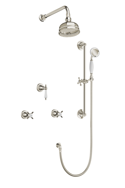 Art Deco Shower System With Arm Rose Diverter & Slide Bar Handshower - Cross Handles