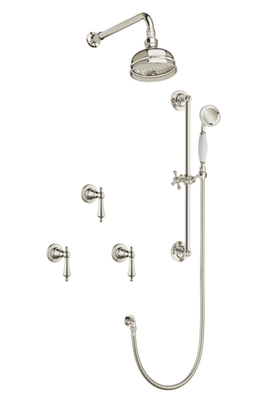 Art Deco Shower System With Arm Rose Diverter & Slide Bar Handshower - Metal Levers