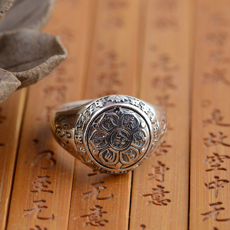 2e23631391228 Six True Words Mantra 925 Sterling Silver Rings - Om Mani Padme Hum