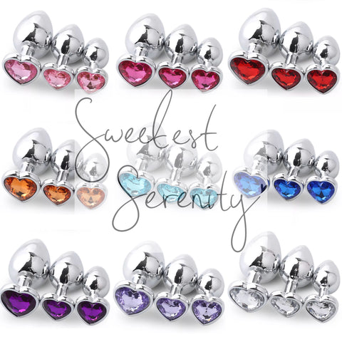 3pc Set Heart Jewel Plugs