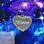 Silver Heart Crystal Name Tag