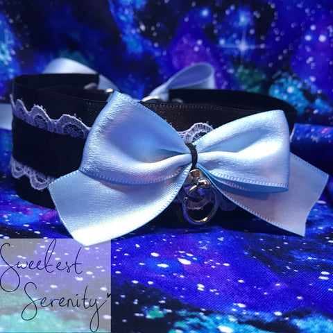 Pale Blue Doll Collar 15""
