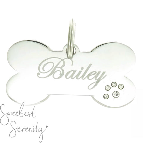 Crystal Paw Bone Name Tag