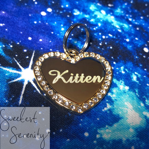 Gold and White Swarovski Crystal Name Tag