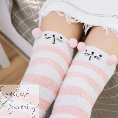 Pink Kitty Fluffy Socks