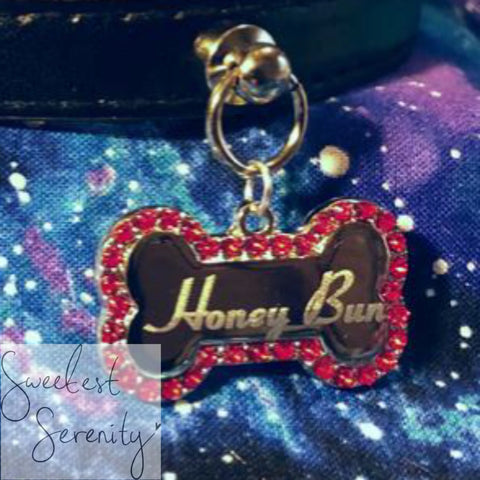 Red Bone Crystal Name Tag