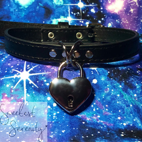 BYO Faux Leather Heart Lock Collar