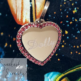 Pink Heart Crystal Name Tag