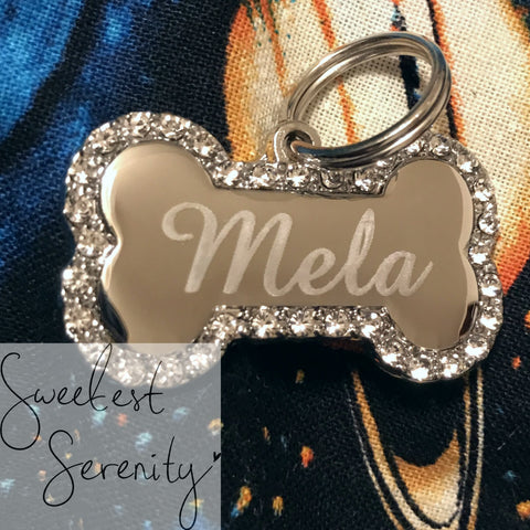 Silver Bone Crystal Name Tag