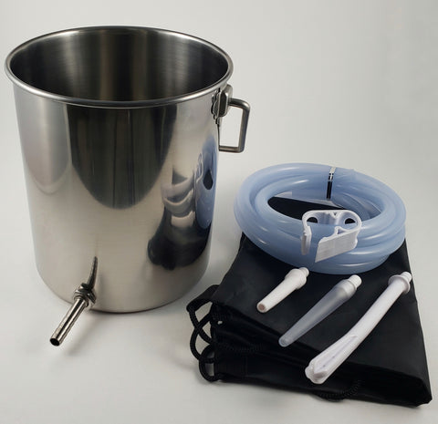 Enema Bucket - Stainless Steel w/ Silicone Tubing