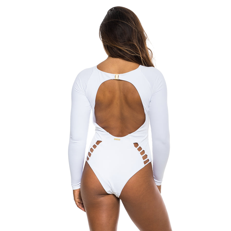 LONG SLEEVE ONE PIECE WHITE RIBBED
