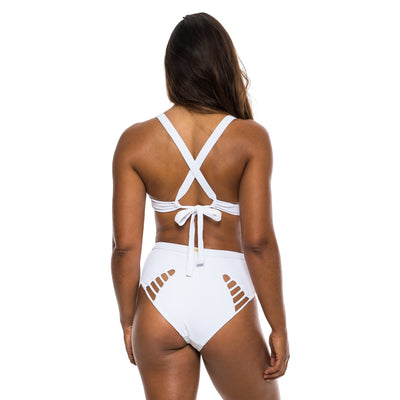 HIGH SURF BIKINI BOTTOM WHITE RIBBED