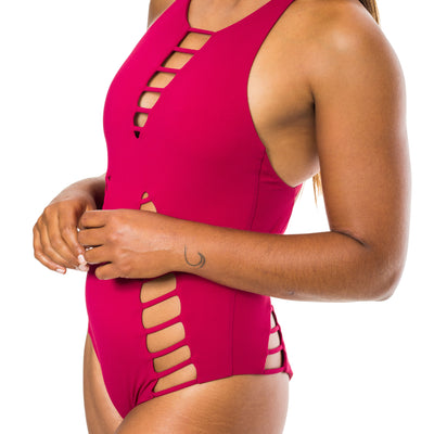 ONE PIECE BURGUNDY RIBBED