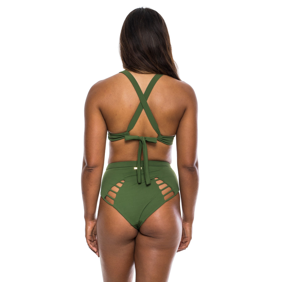 HIGH SURF BIKINI BOTTOM OLIVE RIBBED