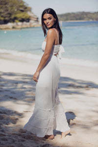 Maxine Maxi Dress with Adjustable Straps - White-SOPHIA + CO-SOPHIA + CO