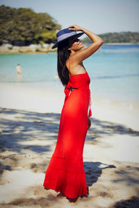 Maxine Maxi Adjustable Strap Dress - Red-SOPHIA + CO-SOPHIA + CO