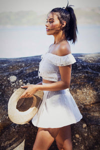 Roxette - Off the Shoulder Lace Front-Tie Top & Wrap Mini-Skirt - Pure White-SOPHIA + CO-SOPHIA + CO