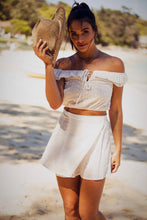 Load image into Gallery viewer, Roxette - Off the Shoulder Lace Front-Tie Top & Wrap Mini-Skirt - Pure White-SOPHIA + CO-SOPHIA + CO
