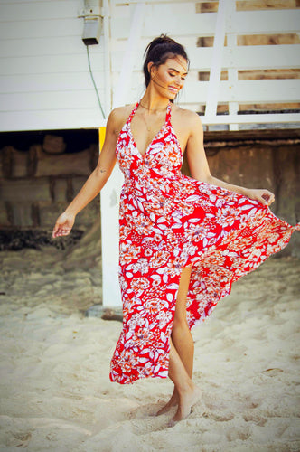 Roxette Halter Sundress - Red 'n' White-SOPHIA + CO-SOPHIA + CO