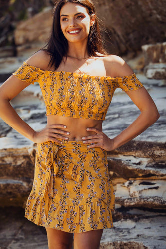 Lily - Off the Shoulder Tube Top & Wrap-Around Skirt-SOPHIA + CO-SOPHIA + CO