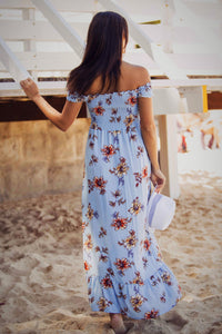 Kelly - Floral Blue Off the Shoulder Maxi Dress-SOPHIA + CO-SOPHIA + CO