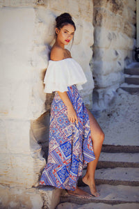 Zenith - Off the Shoulder White Cotton Gypsy Top-SOPHIA + CO-SOPHIA + CO