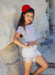 Girls - Savvy Top - Off the Shoulder - White with Black Polka-Dots-SOPHIA + CO-SOPHIA + CO