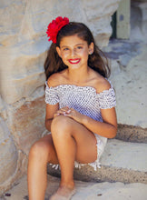 Load image into Gallery viewer, Girls - Savvy Top - Off the Shoulder - White with Black Polka-Dots-SOPHIA + CO-SOPHIA + CO